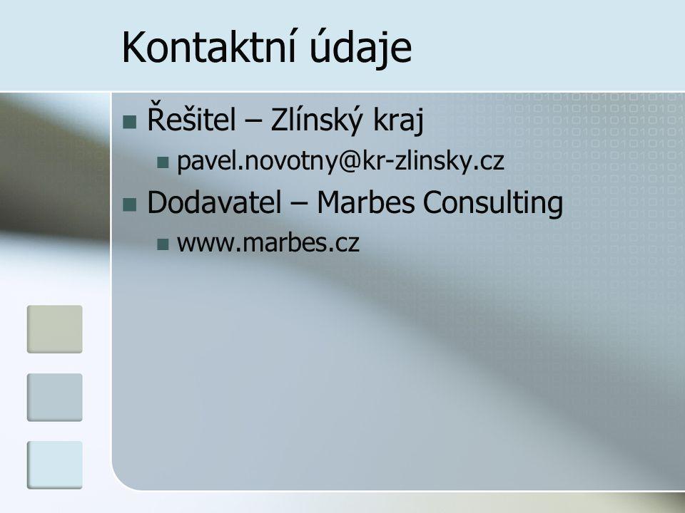 Kontaktní údaje Řešitel – Zlínský kraj pavel.novotny@kr-zlinsky.cz Dodavatel – Marbes Consulting www.marbes.cz