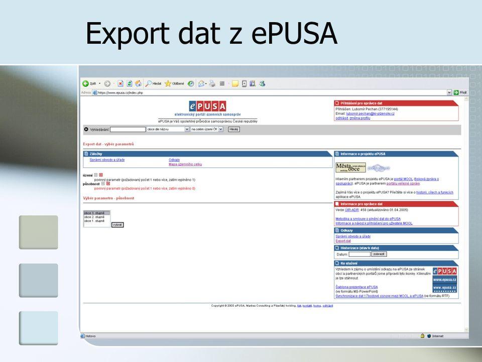 Vazba na Portál veřejné správy Webové služby přenáší data zadaná do systému ePUSA do PVS Otestováno a odsouhlaseno v březnu 2005 Rutinní provoz od dubna 2004 Práce na tzv.