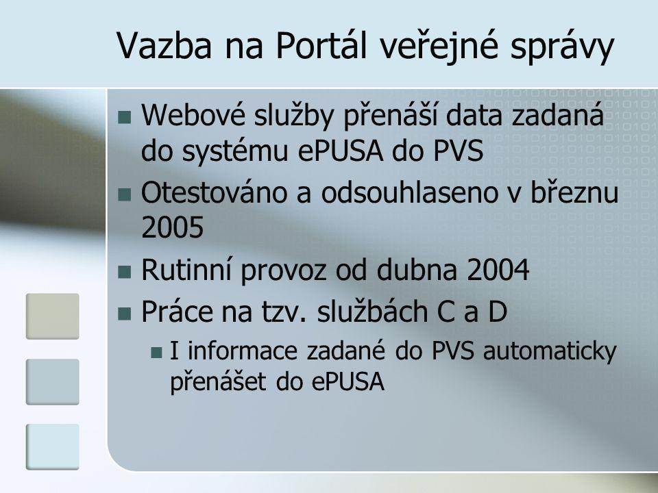 Vazba na Portál veřejné správy Webové služby přenáší data zadaná do systému ePUSA do PVS Otestováno a odsouhlaseno v březnu 2005 Rutinní provoz od dub