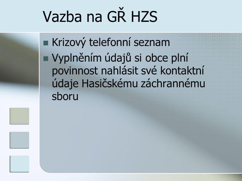 Vazba na GŘ HZS Krizový telefonní seznam Vyplněním údajů si obce plní povinnost nahlásit své kontaktní údaje Hasičskému záchrannému sboru