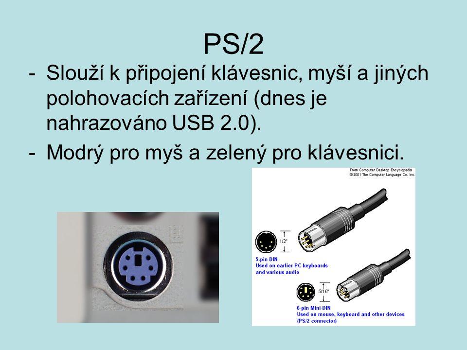PS/2 -Slouží k připojení klávesnic, myší a jiných polohovacích zařízení (dnes je nahrazováno USB 2.0).