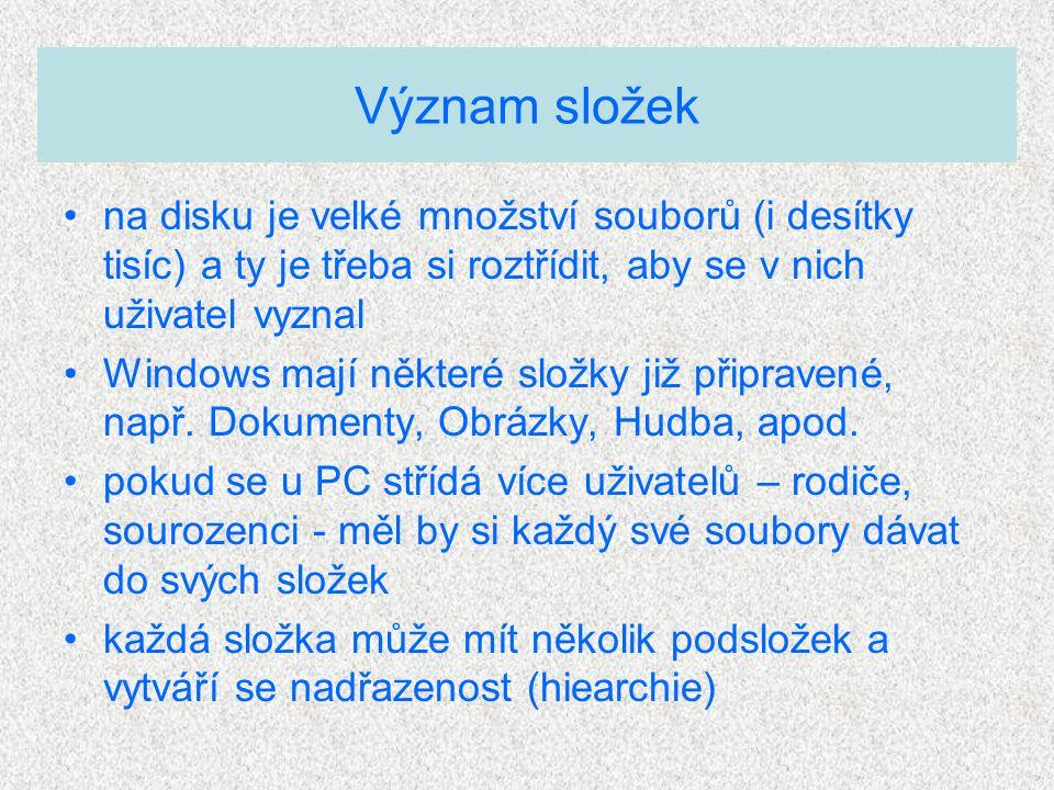 na disku je velké množství souborů (i desítky tisíc) a ty je třeba si roztřídit, aby se v nich uživatel vyznal Windows mají některé složky již připravené, např.