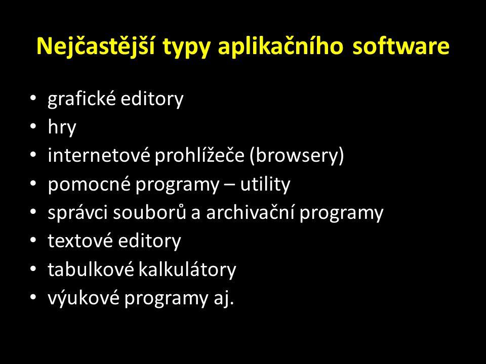 Nejčastější typy aplikačního software grafické editory hry internetové prohlížeče (browsery) pomocné programy – utility správci souborů a archivační programy textové editory tabulkové kalkulátory výukové programy aj.