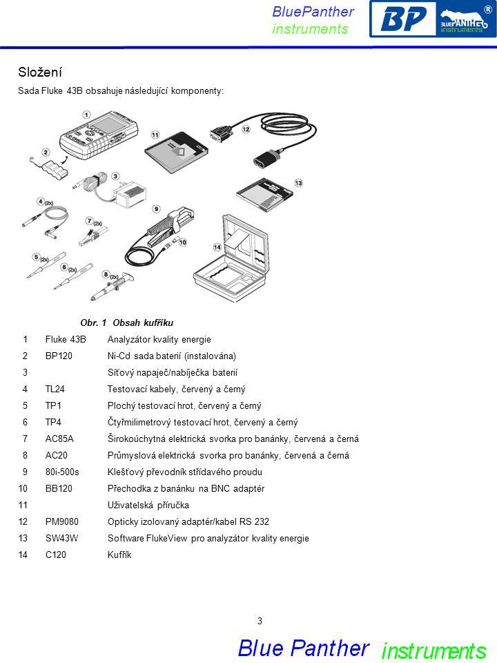 Složení Sada Fluke 43B obsahuje následující komponenty: Obr.