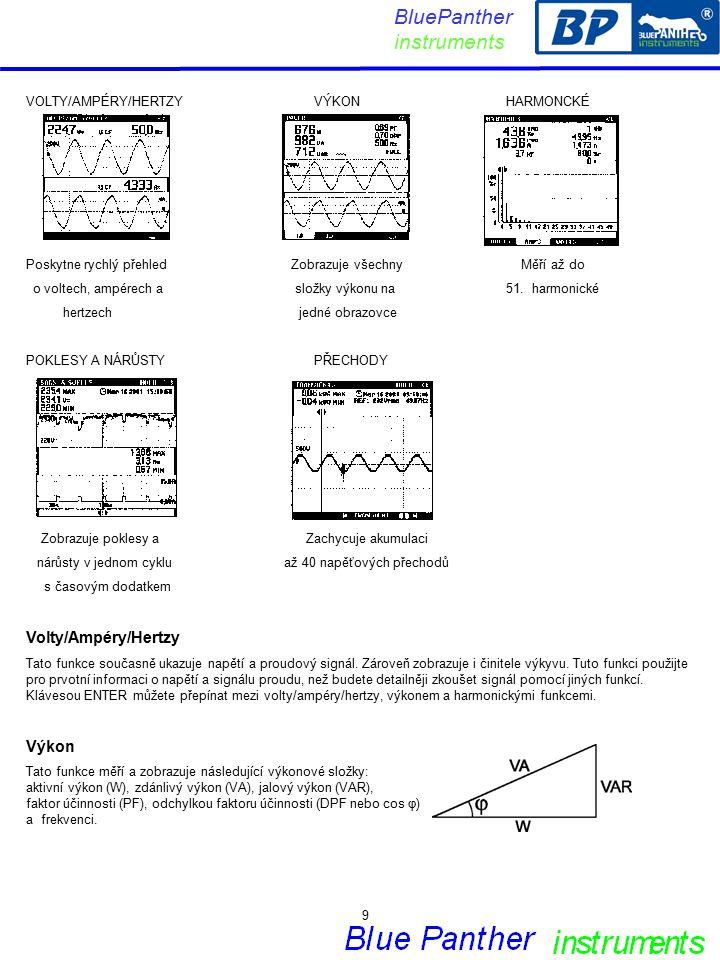 VOLTY/AMPÉRY/HERTZYVÝKONHARMONCKÉ Poskytne rychlý přehled Zobrazuje všechny Měří až do o voltech, ampérech a složky výkonu na51.