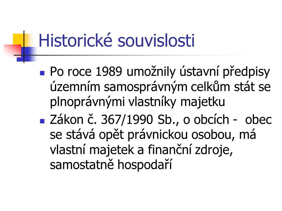 Historické souvislosti Po roce 1989 umožnily ústavní předpisy územním samosprávným celkům stát se plnoprávnými vlastníky majetku Zákon č.
