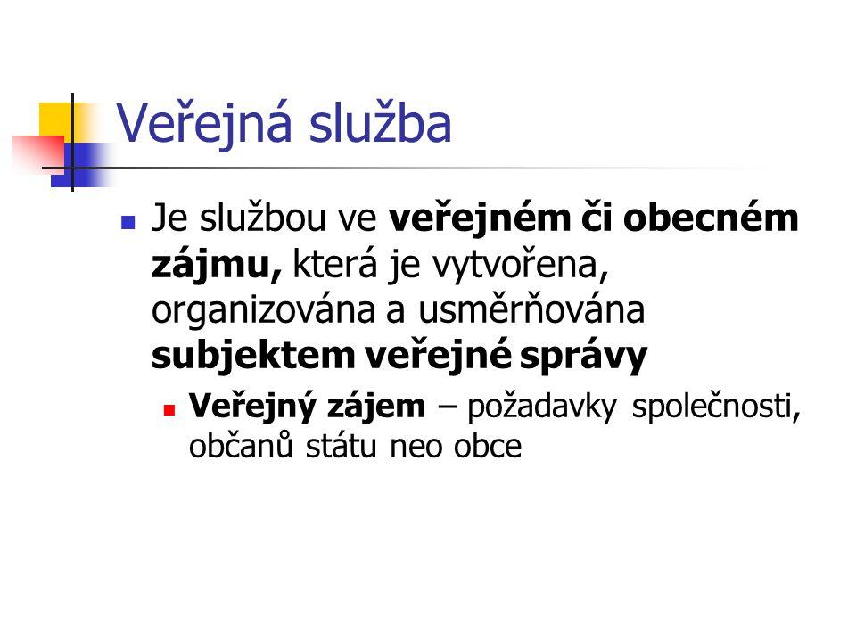 Veřejná služba Je službou ve veřejném či obecném zájmu, která je vytvořena, organizována a usměrňována subjektem veřejné správy Veřejný zájem – požadavky společnosti, občanů státu neo obce
