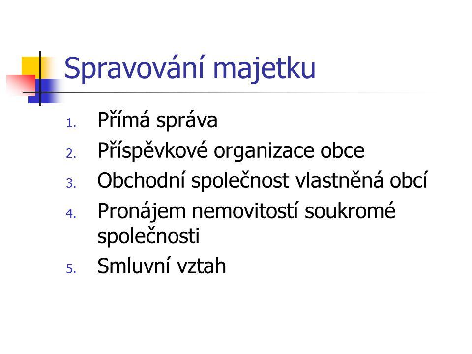 Spravování majetku 1.Přímá správa 2. Příspěvkové organizace obce 3.