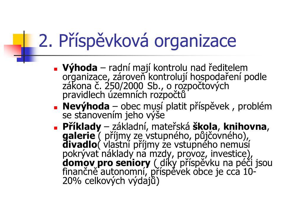 2. Příspěvková organizace Výhoda – radní mají kontrolu nad ředitelem organizace, zároveň kontrolují hospodaření podle zákona č. 250/2000 Sb., o rozpoč