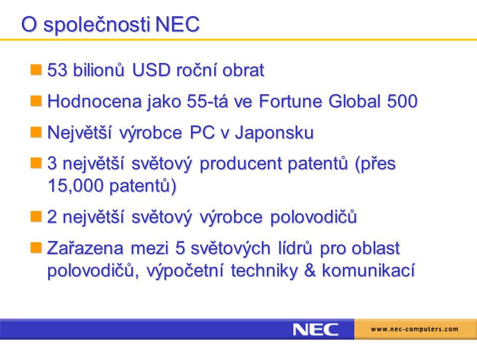 53 bilionů USD roční obrat 53 bilionů USD roční obrat Hodnocena jako 55-tá ve Fortune Global 500 Hodnocena jako 55-tá ve Fortune Global 500 Největší výrobce PC v Japonsku Největší výrobce PC v Japonsku 3 největší světový producent patentů (přes 15,000 patentů) 3 největší světový producent patentů (přes 15,000 patentů) 2 největší světový výrobce polovodičů 2 největší světový výrobce polovodičů Zařazena mezi 5 světových lídrů pro oblast polovodičů, výpočetní techniky & komunikací Zařazena mezi 5 světových lídrů pro oblast polovodičů, výpočetní techniky & komunikací O společnosti NEC