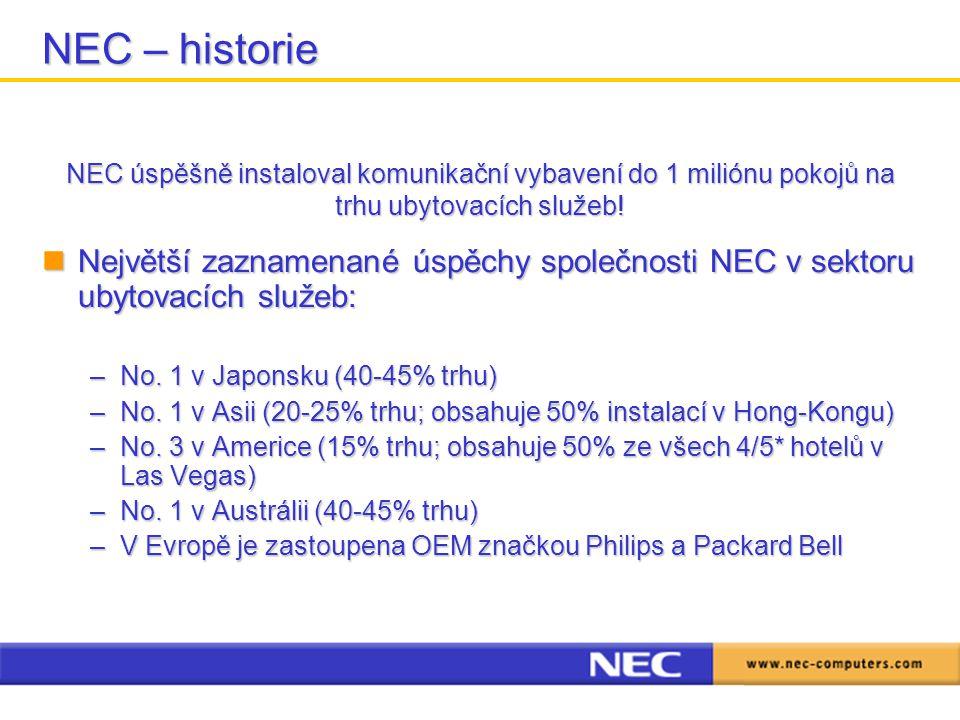 Největší zaznamenané úspěchy společnosti NEC v sektoru ubytovacích služeb: Největší zaznamenané úspěchy společnosti NEC v sektoru ubytovacích služeb: –No.