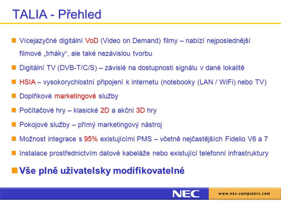 """TALIA - Přehled Vícejazyčné digitální VoD (Video on Demand) filmy – nabízí nejposlednější filmové """"trháky , ale také nezávislou tvorbu Vícejazyčné digitální VoD (Video on Demand) filmy – nabízí nejposlednější filmové """"trháky , ale také nezávislou tvorbu Digitální TV (DVB-T/C/S) – závislé na dostupnosti signálu v dané lokalitě Digitální TV (DVB-T/C/S) – závislé na dostupnosti signálu v dané lokalitě HSIA – vysokorychlostní připojení k internetu (notebooky (LAN / WiFi) nebo TV) HSIA – vysokorychlostní připojení k internetu (notebooky (LAN / WiFi) nebo TV) Doplňkové marketingové služby Doplňkové marketingové služby Počítačové hry – klasické 2D a akční 3D hry Počítačové hry – klasické 2D a akční 3D hry Pokojové služby – přímý marketingový nástroj Pokojové služby – přímý marketingový nástroj Možnost integrace s 95% existujícími PMS – včetně nejčastějších Fidelio V6 a 7 Možnost integrace s 95% existujícími PMS – včetně nejčastějších Fidelio V6 a 7 Instalace prostřednictvím datové kabeláže nebo existující telefonní infrastruktury Instalace prostřednictvím datové kabeláže nebo existující telefonní infrastruktury Vše plně uživatelsky modifikovatelné Vše plně uživatelsky modifikovatelné"""