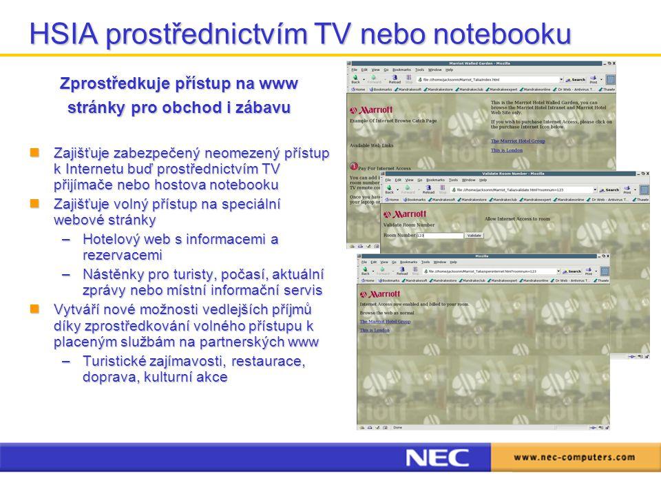 HSIA prostřednictvím TV nebo notebooku Zprostředkuje přístup na www stránky pro obchod i zábavu Zajišťuje zabezpečený neomezený přístup k Internetu bu