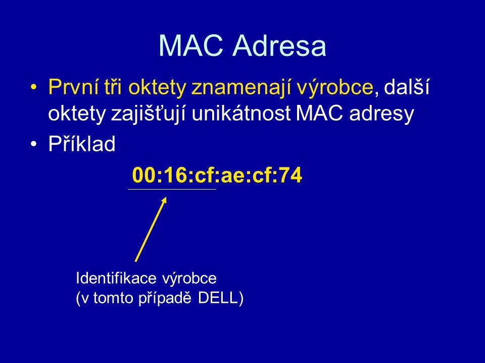 MAC Adresa První tři oktety znamenají výrobce, další oktety zajišťují unikátnost MAC adresy Příklad 00:16:cf:ae:cf:74 Identifikace výrobce (v tomto př