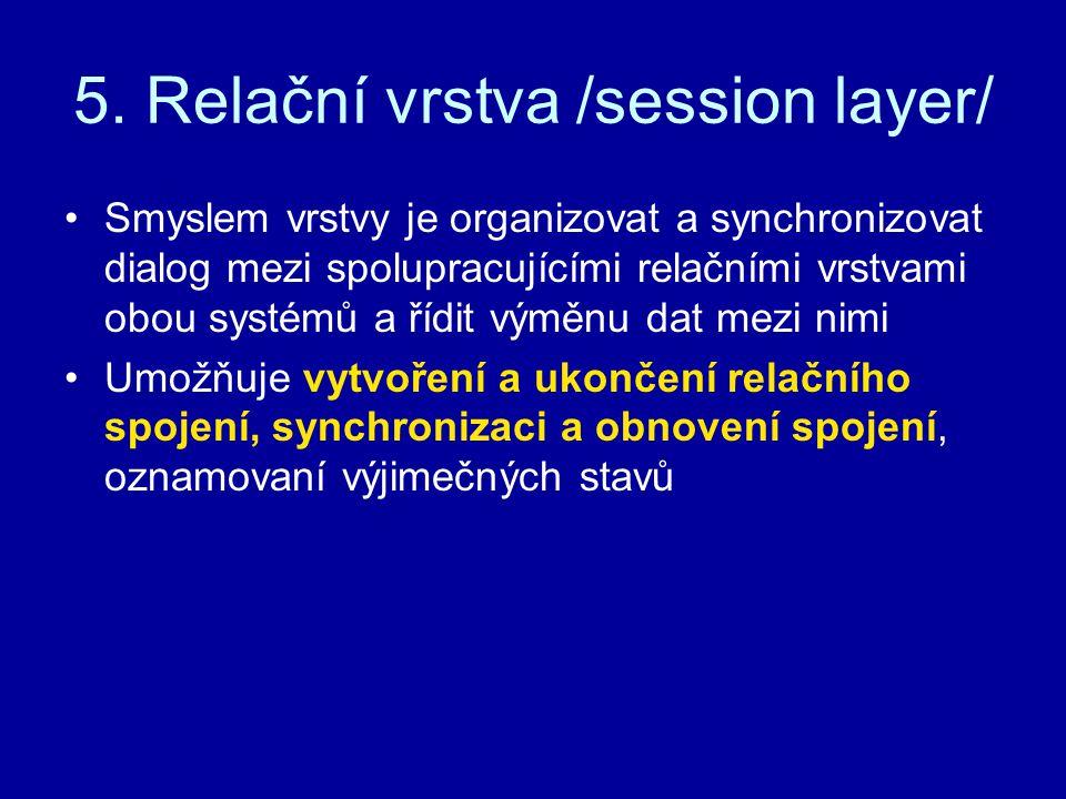 5. Relační vrstva /session layer/ Smyslem vrstvy je organizovat a synchronizovat dialog mezi spolupracujícími relačními vrstvami obou systémů a řídit