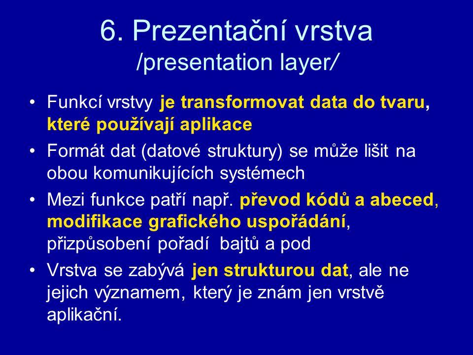 6. Prezentační vrstva /presentation layer/ Funkcí vrstvy je transformovat data do tvaru, které používají aplikace Formát dat (datové struktury) se můž