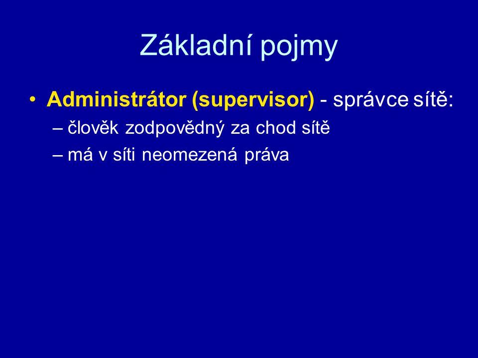 Základní pojmy Administrátor (supervisor) - správce sítě: –člověk zodpovědný za chod sítě –má v síti neomezená práva
