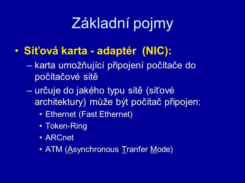 Základní pojmy Síťová karta - adaptér (NIC): –karta umožňující připojení počítače do počítačové sítě –určuje do jakého typu sítě (síťové architektury)