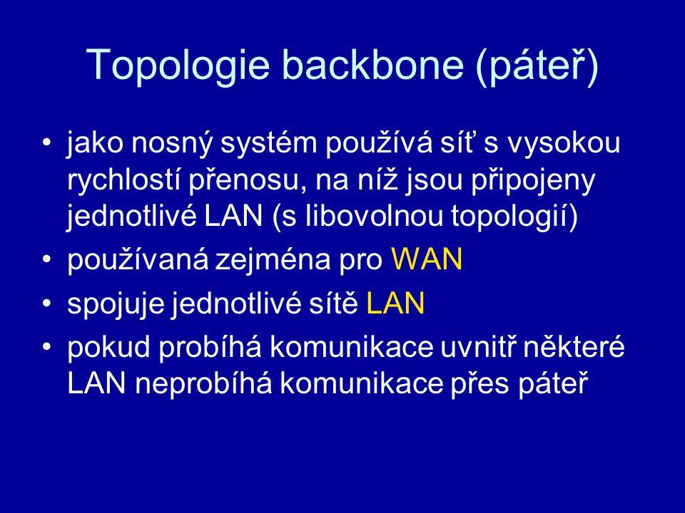 Topologie backbone (páteř) jako nosný systém používá síť s vysokou rychlostí přenosu, na níž jsou připojeny jednotlivé LAN (s libovolnou topologií) po