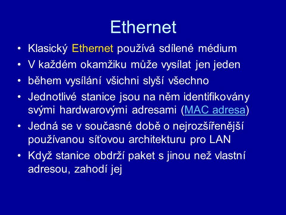 Ethernet Klasický Ethernet používá sdílené médium V každém okamžiku může vysílat jen jeden během vysílání všichni slyší všechno Jednotlivé stanice jso