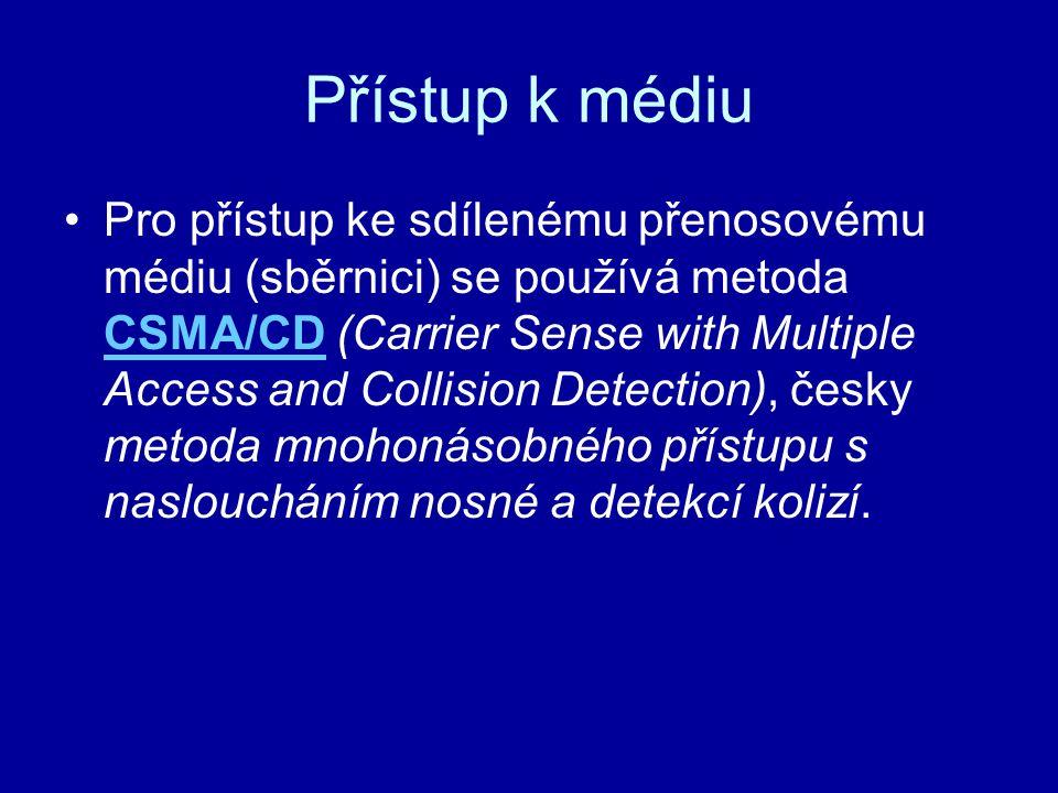 Přístup k médiu Pro přístup ke sdílenému přenosovému médiu (sběrnici) se používá metoda CSMA/CD (Carrier Sense with Multiple Access and Collision Dete