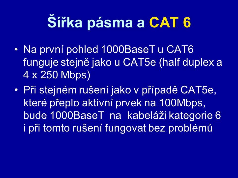 Šířka pásma a CAT 6 Na první pohled 1000BaseT u CAT6 funguje stejně jako u CAT5e (half duplex a 4 x 250 Mbps) Při stejném rušení jako v případě CAT5e,