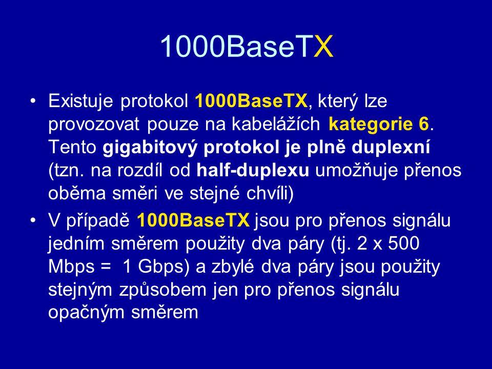 1000BaseTX Existuje protokol 1000BaseTX, který lze provozovat pouze na kabelážích kategorie 6. Tento gigabitový protokol je plně duplexní (tzn. na roz