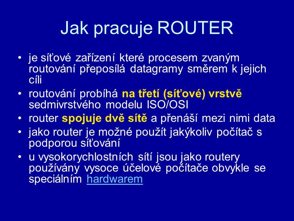 Jak pracuje ROUTER je síťové zařízení které procesem zvaným routování přeposílá datagramy směrem k jejich cíli routování probíhá na třetí (síťové) vrs