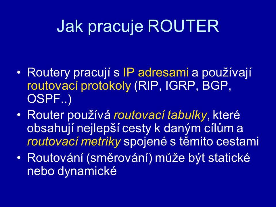 Jak pracuje ROUTER Routery pracují s IP adresami a používají routovací protokoly (RIP, IGRP, BGP, OSPF..) Router používá routovací tabulky, které obsa