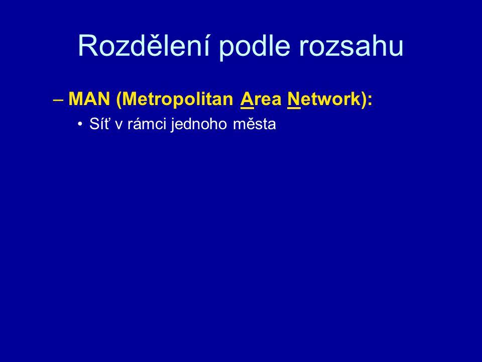 Rozdělení podle rozsahu –MAN (Metropolitan Area Network): Síť v rámci jednoho města