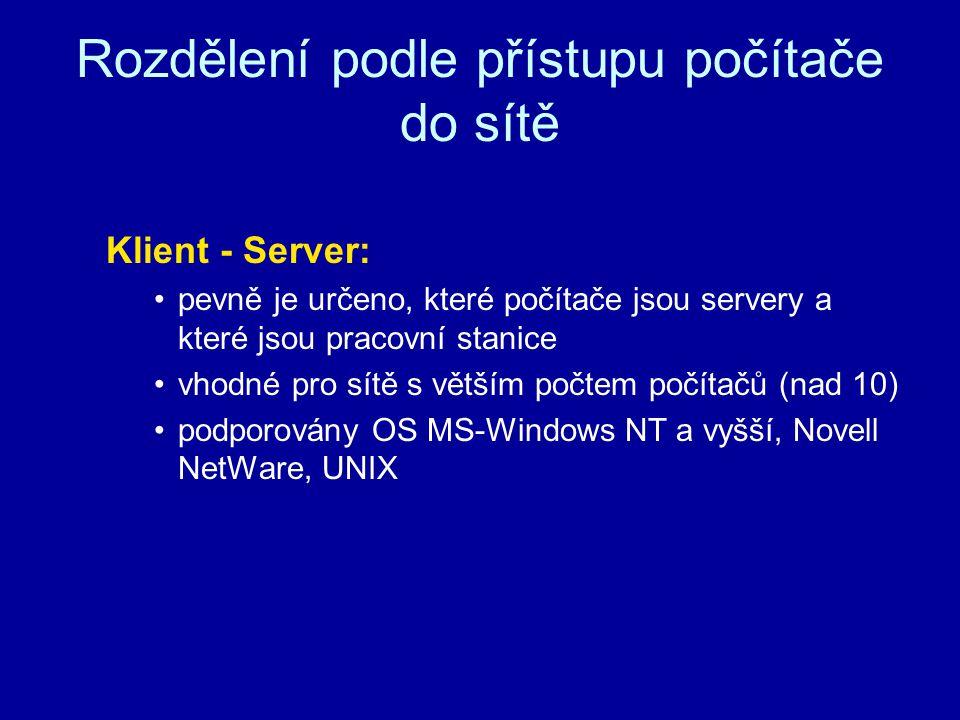 Rozdělení podle přístupu počítače do sítě Klient - Server: pevně je určeno, které počítače jsou servery a které jsou pracovní stanice vhodné pro sítě