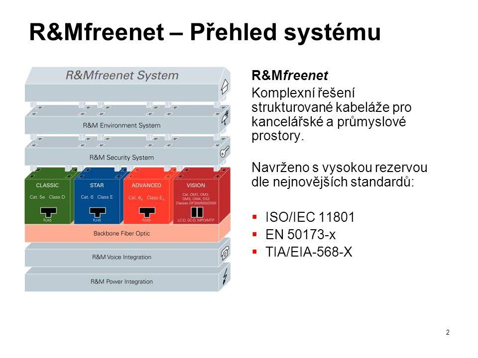 2 R&Mfreenet – Přehled systému R&Mfreenet Komplexní řešení strukturované kabeláže pro kancelářské a průmyslové prostory. Navrženo s vysokou rezervou d