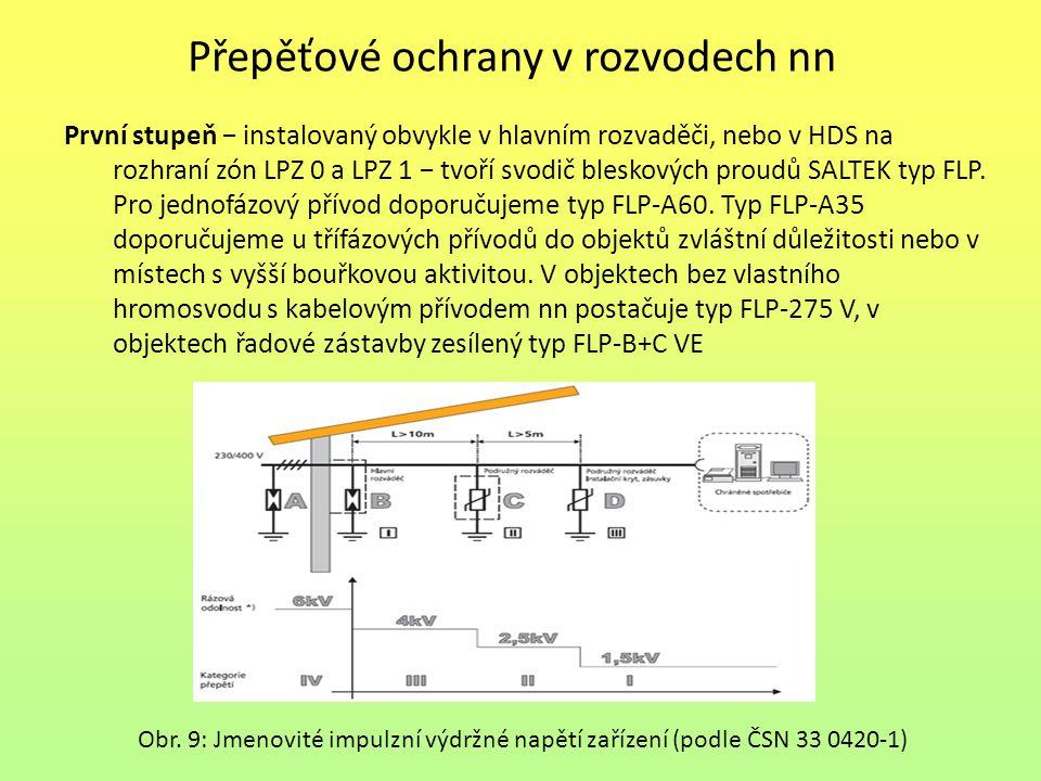 Přepěťové ochrany v rozvodech nn První stupeň − instalovaný obvykle v hlavním rozvaděči, nebo v HDS na rozhraní zón LPZ 0 a LPZ 1 − tvoří svodič blesk