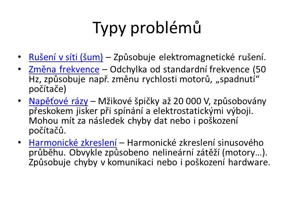 Typy problémů Rušení v síti (šum) – Způsobuje elektromagnetické rušení. Rušení v síti (šum) Změna frekvence – Odchylka od standardní frekvence (50 Hz,