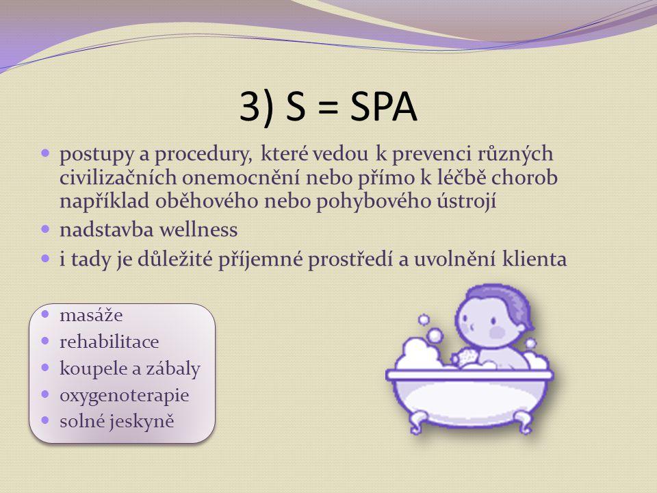 3) S = SPA postupy a procedury, které vedou k prevenci různých civilizačních onemocnění nebo přímo k léčbě chorob například oběhového nebo pohybového ústrojí nadstavba wellness i tady je důležité příjemné prostředí a uvolnění klienta masáže rehabilitace koupele a zábaly oxygenoterapie solné jeskyně
