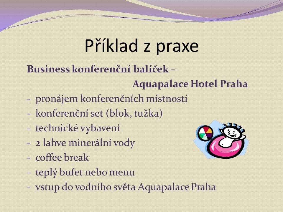 Business konferenční balíček – Aquapalace Hotel Praha - pronájem konferenčních místností - konferenční set (blok, tužka) - technické vybavení - 2 lahv