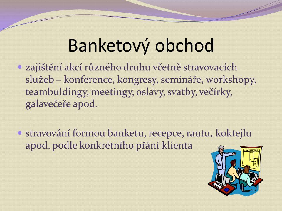 Banketový obchod zajištění akcí různého druhu včetně stravovacích služeb – konference, kongresy, semináře, workshopy, teambuldingy, meetingy, oslavy,