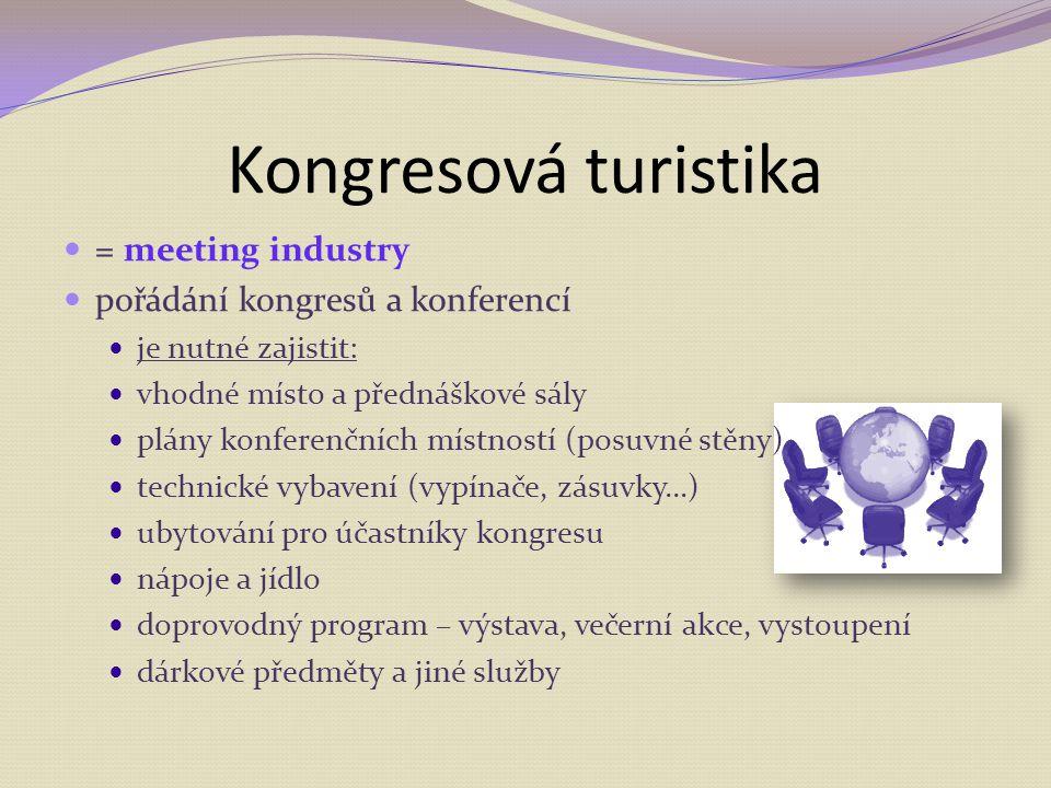 Kongresová turistika = meeting industry pořádání kongresů a konferencí je nutné zajistit: vhodné místo a přednáškové sály plány konferenčních místnost