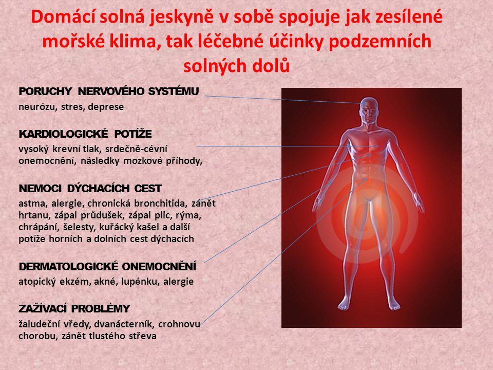 Solný aerosol vyčistí vzduch a vytvoří antimikrobiální, téměř sterilní prostředí Estetické účinky - vyhlazuje vrásky, zvyšuje prokrvení, hydrataci a pružnost kůže, zpomaluje proces stárnutí Hygienické účinky - zlepšuje kvalitu ovzduší, zadržuje prach, odstraňuje cigaretový kouř, eliminuje nepříjemné pachy( pot, plísně, staré knihy) Zdravotní účinky - zvýšená odolnost proti nachlazení, zajišťuje klidný spánek, navodí psychicky pohodový stav, snižuje problémy s chrápáním, pomůže při zánětech středního ucha, zvyšuje imunitu u dětí i dospělých
