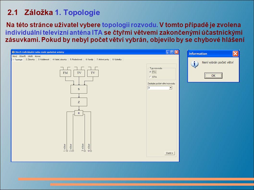 2.1 Záložka 1.Topologie Na této stránce uživatel vybere topologii rozvodu.