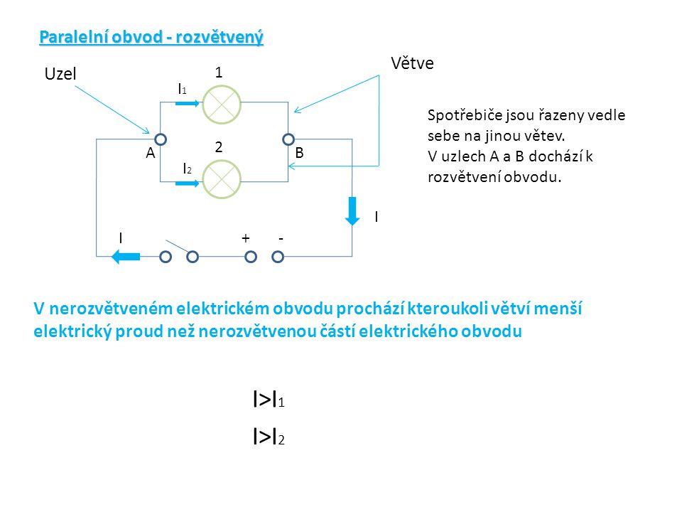 Paralelní obvod - rozvětvený +- 1 2 Uzel Větve AB Spotřebiče jsou řazeny vedle sebe na jinou větev. V uzlech A a B dochází k rozvětvení obvodu. V nero