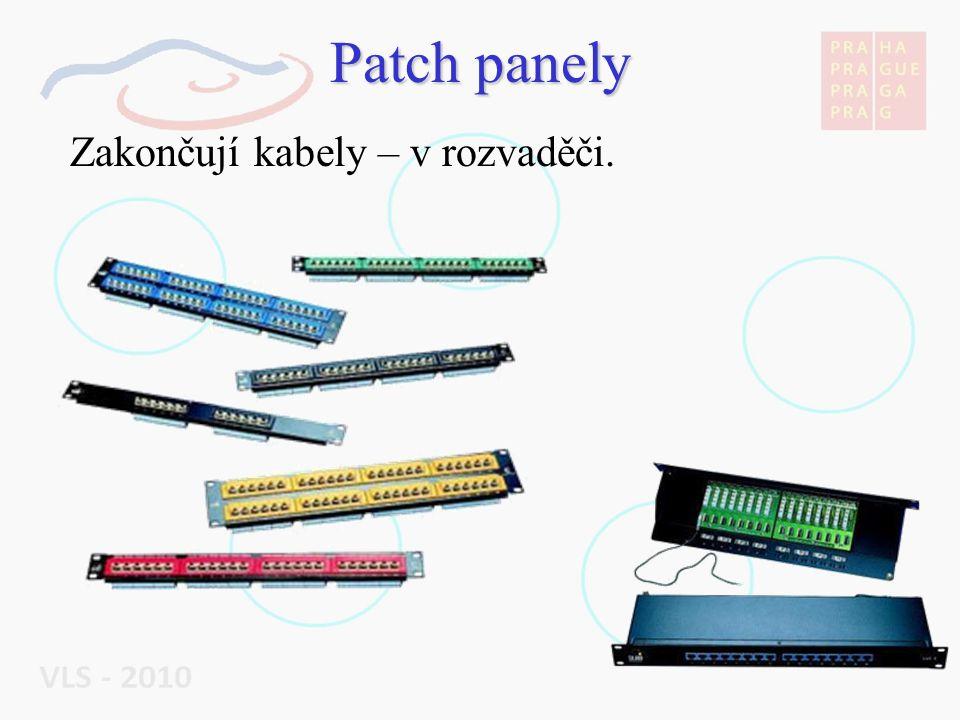Patch panely Zakončují kabely – v rozvaděči.