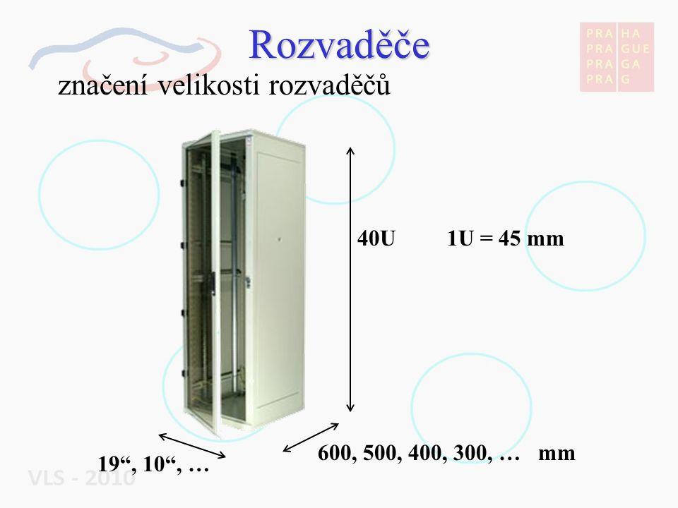 """Rozvaděče značení velikosti rozvaděčů 19"""", 10"""", … 600, 500, 400, 300, … mm 40U 1U = 45 mm"""