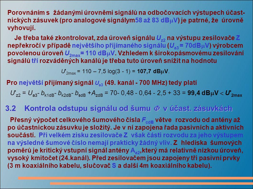 Porovnáním s žádanými úrovněmi signálů na odbočovacích výstupech účast- nických zásuvek (pro analogové signálym58 až 83 dB  V) je patrné, že úrovně vyhovují.