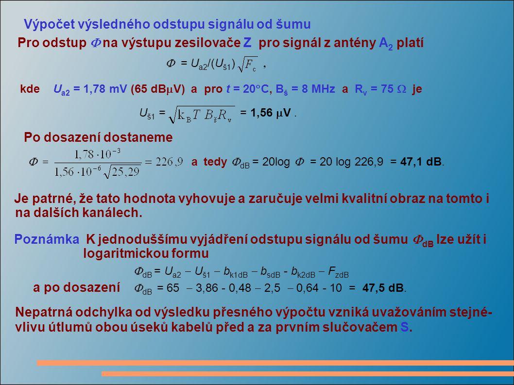 Výpočet výsledného odstupu signálu od šumu Pro odstup  na výstupu zesilovače Z pro signál z antény A 2 platí  = U a2 /(U š1 ), kde U a2 = 1,78 mV (65 dB  V) a pro t = 20  C, B š = 8 MHz a R v = 75  je U š1 = = 1,56  V.