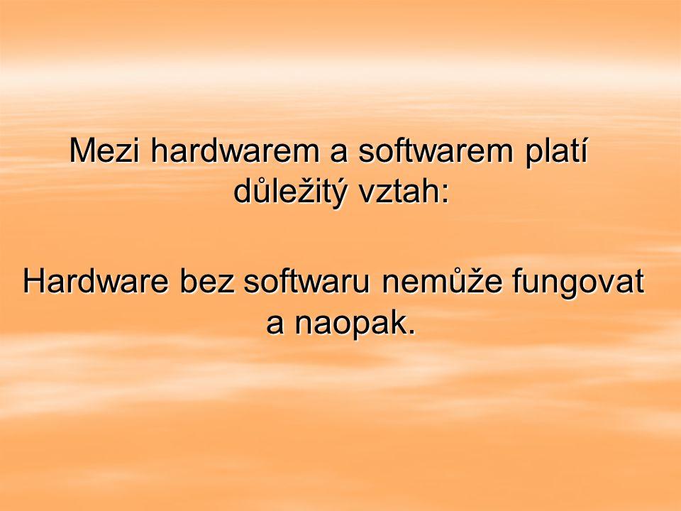 Mezi hardwarem a softwarem platí důležitý vztah: Hardware bez softwaru nemůže fungovat a naopak.