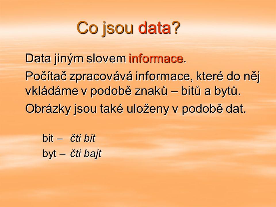 Co jsou data.Data jiným slovem informace.