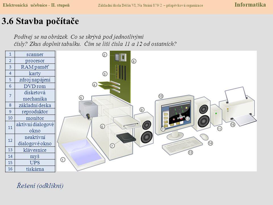 3.5 Hardware - doplňovačka Doplň do textu správná slova: Základní desku, pevný disk, operační paměť, myš, klávesnici a ostatní věci, které souvisí s p
