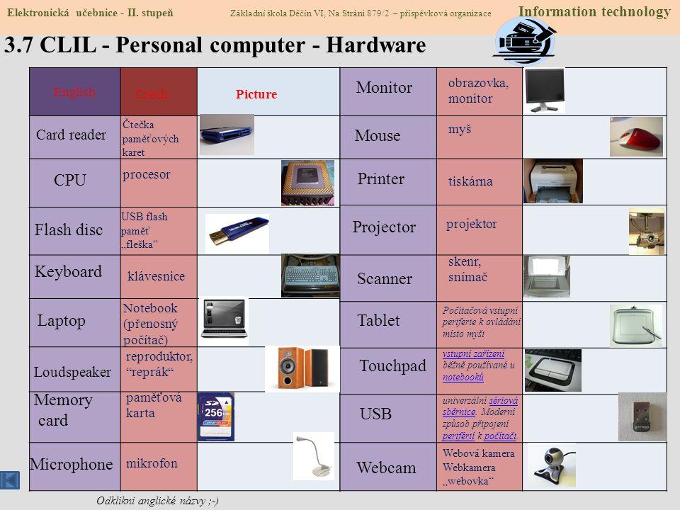 3.6 Stavba počítače 1 2 3 4 5 6 7 8 9 10 11 12 13 14 15 16 Podívej se na obrázek. Co se skrývá pod jednotlivými čísly? Zkus doplnit tabulku. Čím se li