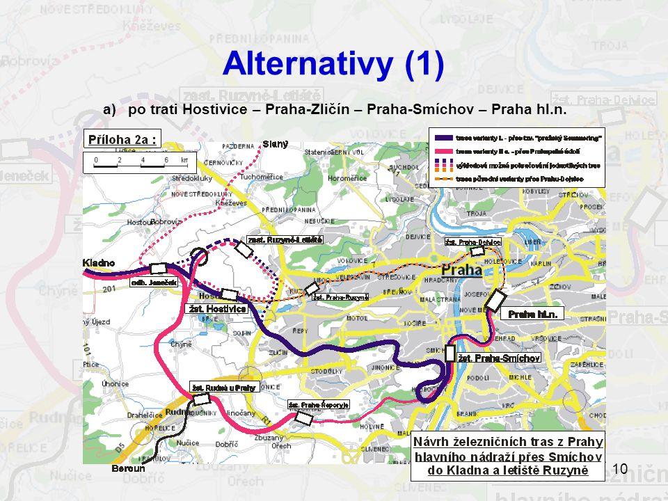 10 Alternativy (1) a)po trati Hostivice – Praha-Zličín – Praha-Smíchov – Praha hl.n.